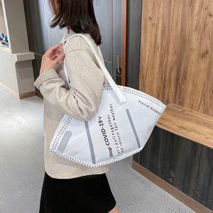Bolsos de gran capacidad Casual Mujeres Lienzo Bolsas de asas creativas Hobos Máscara Bolsas de hombro Femenino Moda Trendy Ladies Shopper Bag