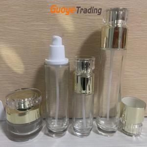 Garrafa de vidro cosméticos Dispensador de toner de vidro de vidro puro loção de vidro sub-engarrafador de creme de engarrafamento de creme de creme recipiente embalagem cosmética fábrica