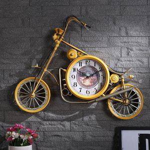 Creative Large 3d Wall Clocks Retro Iron Bicycle Clocks Shabby Chic American Wall Hanging Relogio De Parede Decorative SC525