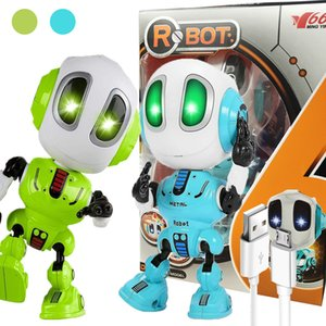 Children Robot Toys USB Charging Electronic Action Figure Toy Colorful LED Eyes Head Touch-Sensitive Robots Gifts For Kids 201209