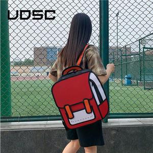 UOSC 2D desenho mochilas para mulheres mochila criativo estilo 3d salto saco de escola dos desenhos animados para meninas traval rucksack mochila mujer