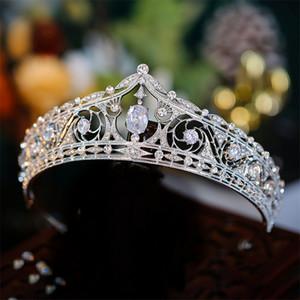 Queen Crown Zircon Wedding Bridal Crystal Rhinestone Headband Hair Accessories Jewelry Gold Silver Prom Headdress Ornament Dress Accessories