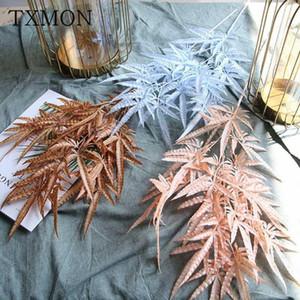 Cifrado de un solo cifrado artificial Flores de plástico Hall de boda Decoración suave Material floral Flor de flores de hojas1