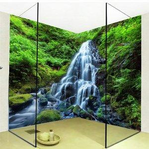 3D 벽지 폭포 포리스트 자연 풍경 사진 벽 스티커 벽화 PVC 자기 접착 방수 방수 욕실 Papel de parede