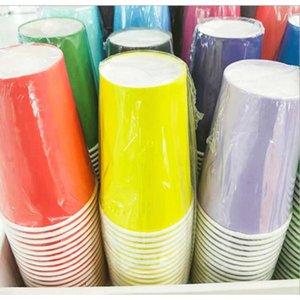 10pcs Pure Color Party Jetables Tasse à papier Juice Coupe Diy Décoration Baby Douche Baby Douche Enfants Anniversaire Pique-nique Vaisselle de pique-nique Fourniture F WMTQXE
