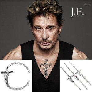 Bangle Rock Singer 프랑스어 조니 Hallyday 컬렉션 기타 크로스 스테인레스 스틸 팔찌 보석 남성 Christian Crucifix1
