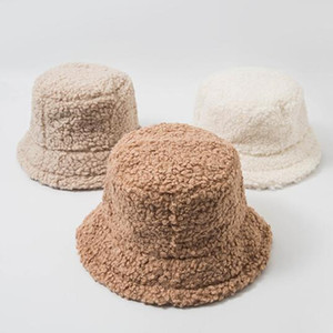 Winter Faux Fur Girls Warm Hats Bucket Hat Lamb Thickened Plush Fisherman Hat Panama Casual Caps Kids Gift 8 Colors PPA3029