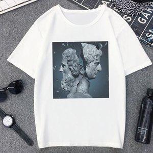 Brain Hole Wide Open David Statue T Shirt Women Spoof Personality Fashion Tshirt Summer Harajuku Aesthetic White T shirt Female