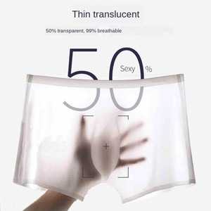 Seamless Boxers for Men Ice Silk Underwear Men Four Corner 3D Ultra Thin Ice Cool Breathable Traceless Boxer Briefs Shorts