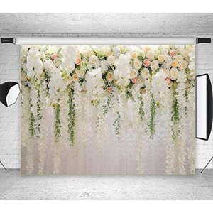 3D White Rose Floral Photography Backdrops Bridal Shower Wedding Flowers Wall Decoration Photo Background Studio Props Booth