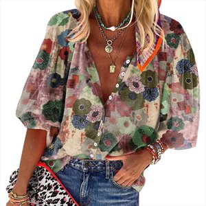 Cinessd Turn Down Collar Stampa Donne Camicette Blu Cardigan Button Casual Tops Rosso Maniche lunghe Single Breasted Bohemian Blusa