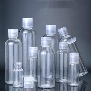 5ml 10ml 20 ml 30 ml 50 ml de bouteilles vides de plastique de 120 ml de 120 ml de 100 ml de 100 ml de Pet Transparent Bouteille transparente avec bouchon à flip pour lotion de shampooing liquide