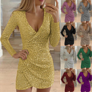 Laamei Womens V neck Slim Sequin Dress New Sexy Silver Shiny Party Vestido Fashion Ladies Long Sleeve Mini Dress Mujer