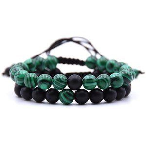 8mm Malachite Natural stone Beads bracelets Weave charm Couple strands Bracelet for men and women Jewellery