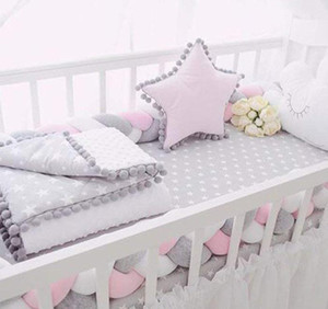 Baby Crib Bumper Knotted Braided Plush Nursery Cradle Decor Newborn Gift Pillow Cushion Junior Bed Sleep Bumper sqcZdg bdenet