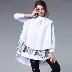LANMREM 2020 New autumn Double Layer Printed Hem Womens Blouse Long Sleeve Stand Collar Big Size Loose Shirts S056