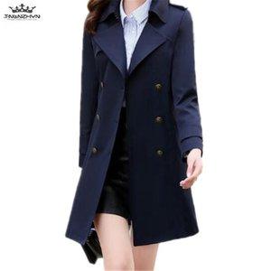 Tnlnzhyn 2020 Nova Primavera Mulheres Sólida Trench Coat Moda Dupla-Breasted Windbreaker Casaco Médio Longo Outerwear Y981
