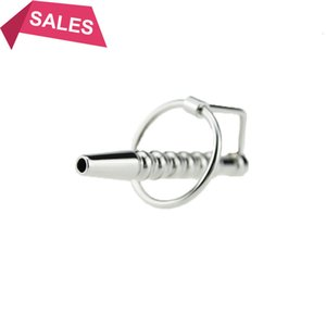 73 мм из нержавеющей стали Penis Plugs звуки и катетеры Уретральный вил с петусом кольцо Уретральные звуковые игрушки Penis
