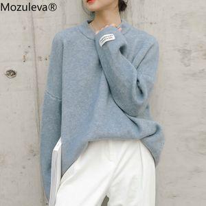 Mozuleva Autumn Winter Women Labeling Loose Pullovers Female Elegant O-Neck Long Sleeve Oversized Warm Sweaters 5 Colors 201124