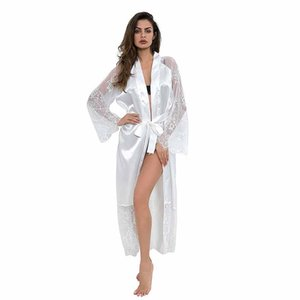 New product pajamas set female ice silk three-point European and American erotic lingerie sexy temptation lace long-sleeved pajamas