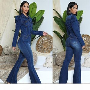 Women 3XL 4XL 5XL denim jeans jumpsuits flare pants fall winter casual clothing solid color long sleeve skinny rompers 4236