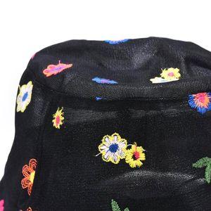 Chapeau de godet dentelle mince d'été femmes douce mignonne coloré petite fleur de broderie écran solide crampon de pêcheur réglable