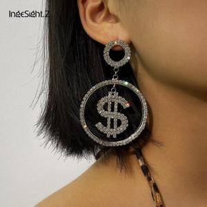 IngeSight.Z Luxury Bling Crystal Dollar Earrings Statement Money Sign $ Shiny Rhinestone Dangle Drop Earrings for Women Jewelry