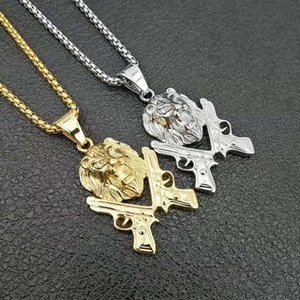 Stainless Steel Hip Hop Neclace Lion And Gun Pendants Gold Color Silver Color 24inch Rope Chain Box Chain SN166