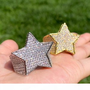 Fashion Star Rings 18 K Gold Color Full Iced Cubic Zirconia Hiphop Ring Jewelry For Men And Women Drop Shipping