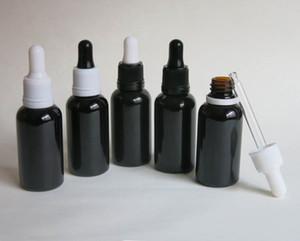 wholesale 100 lot 30ml empty black glass essential oil bottle with tamper evident dropper, 30ml glass bottle