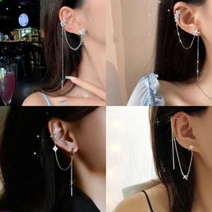 Moda Asimetrik Uzun Püskül Zincir Manşet Küpe Kadınlar Kızlar Için Kelebek Kulak Kemikleri Klip Kulak Kanca Küpe Takı Parti Hediye