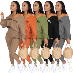 2020 New Womens Designer Tracksuits v Neck Long Sleeve Pencil Pant Two Piece Outfits Casual Slim lucky label embroidery casual two piece set