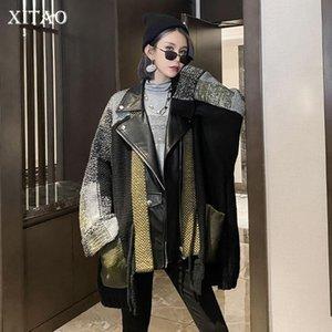 Xitao moda novo jaqueta 2020 outono elegante manga completa bolso pequena fresca estilo casual minority plus size casaco solto dzl2061