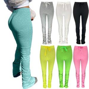 Kadın Sweatpants Joggers Yüksek Bel Yumuşak Dantelli Buzağı Çan Hem Bölünmüş Tayt Bodycon Pantolon Pantolon Rahat Sokak Tomrukları