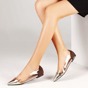 Mhyons Metal заостренные носки квартиры 2020 пружинные боковые падения прозрачные женщины мокасины золотые / серебряные туфли 42 Q1208