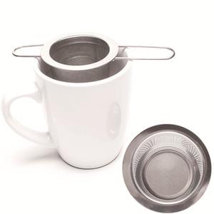 Doble doble asas del té Infusor con tapa de acero inoxidable Malla fina Filtro de café Taza de tetera Taza colgada Hoja suelta Tea Strainer 46 P2