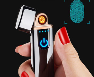 New Portable USB Rechargeable Windproof Flamless Electronic Arc Cigarette Lighters with LED Screen Touch Switch Can Custom Logo SN2097