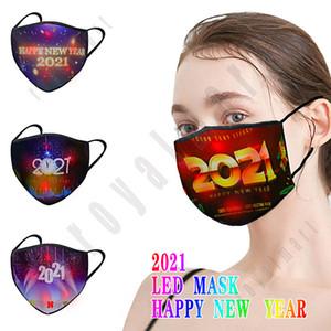 2021 Máscara luminosa LED Invierno Cálido y máscara a prueba de polvo para Feliz Año Nuevo Maquillaje Props Bujes Personalizada