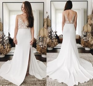 Sexy V Neck Mermaid Wedding Dresses 2021 Sheer Straps Lace Appliqued Backless Beach Bridal Gowns Boho Garden Sweep Train Vestidos AL7862
