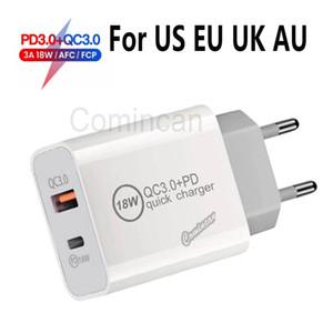QC 3.0 PD 18W CARGO RÁPIDO RÁPIDO RÁPIDO UE UC UIL AU USB Tipo C Enchufe del cargador de pared para teléfono 12 11 Nota 20 DHL envío