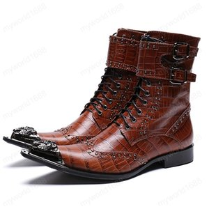 Fashion Handmade Man Studded Belt Footwear Pointed Toe High-Top Motorcycle Shoes Genuine Leather Men's Rivets Long Boots