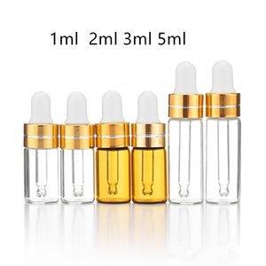 50pcs 1ml 2ml 3ml 5ml Essential Oil bottle Amber Glass Dropper Bottle Display Vials Small Serum Perfume Brown Sample Test