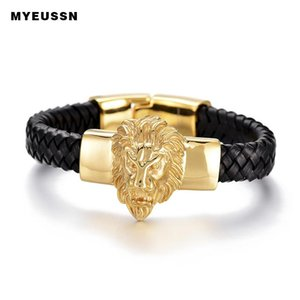 Gold Lion King Head Bracelet 316L Stainless Steel Black Weaving Leather Men Bracelet Top Quality Hip Hop Charm Father's Day Gift