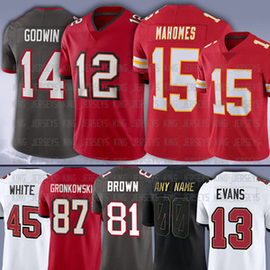 12 Tom Brady 15 Patrick Mahomes 81 Antonio Brown 87 Rob Gronkowski 13 Mike Evans 14 Chris Godwin 45 Devin White Jr Fournette jerseys