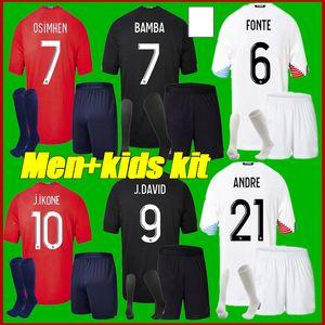 الرجال + Kids Kit 20 21 Losc Lille Soccer Jerseys Home Away Black Black 2020 20 21 Mailleot de Foot Sanches Osimhen Bamba Yazici Shirts