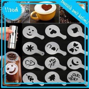 Track Filter Maker Cappucino Capapccino Barista Шаблоны формы Strew Цветы Pad Spray Art Coffee Tools 16 шт. / Лот XD22961