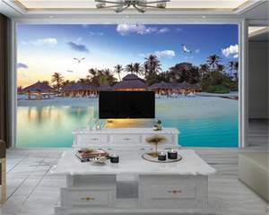 Custom 3d Seascape Wallpaper Beautiful Scenery of Seaside Thatched Houses 3D Wallpaper 3d Mural Wall Paper for Living Room