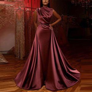 Moroccan Kaftan Muslim Evening Dress Burgundy Arabic Mermaid Dubai Formal Dress Prom Gowns Vestidos