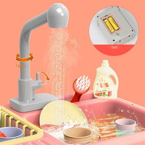 Children Pretend Role Play Color Changing Kitchen Toy Heat Sensitive Thermochromic Dishwash Wash Sink Kid Educational Toy M50# Y200428
