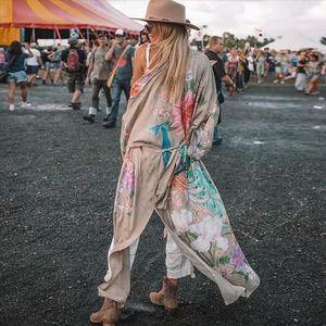 AYUALIN Kimono sleeve robe Kaftan Khaki Floral print Boho cardigan sexy Side Slits Gypsy beach summer long women blouses blusas